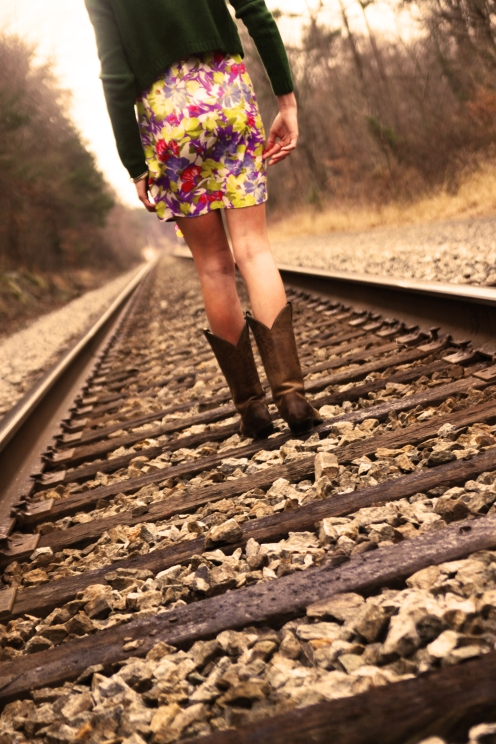 walking on train tracks